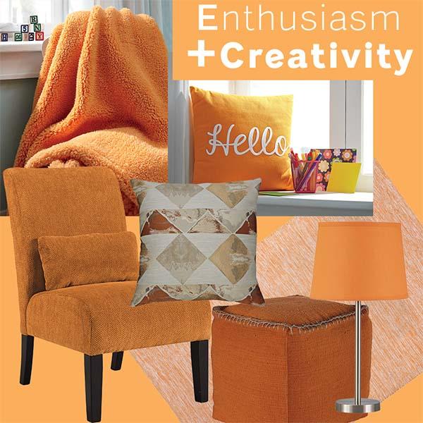 Ghế sofa, giường ngủ và nội thất màu cam mang đến cảm giác hạnh phúc