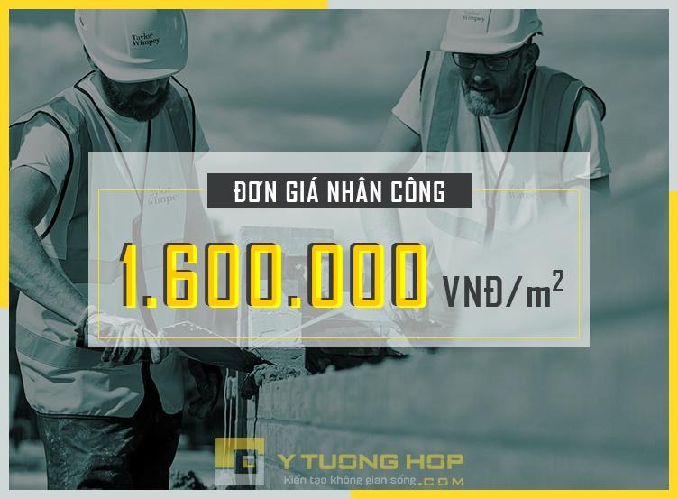 Đơn giá nhân công xây dựng phần thô: 1.600.000 vnđ/m2