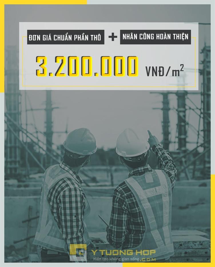 Báo giá xây dựng phần thô: 3.200.000 vnđ/m2