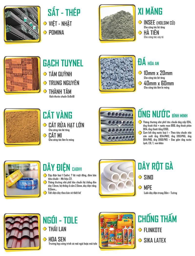 vật tư sử dụng trong dịch vụ sửa chữa nhà trọn gói
