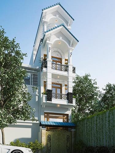 mẫu thiết kế nhà phố đẹp mái thái