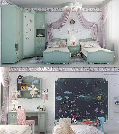 phòng ngủ màu tím và xanh cho bé gái