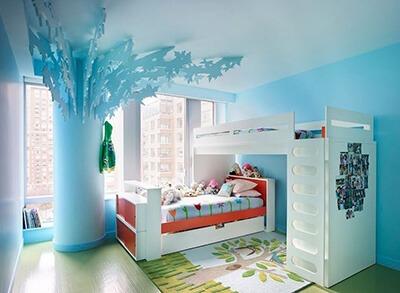 phòng ngủ màu xanh cho bé gái