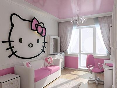 Phòng ngủ cho bé gái với mèo Hello Kitty
