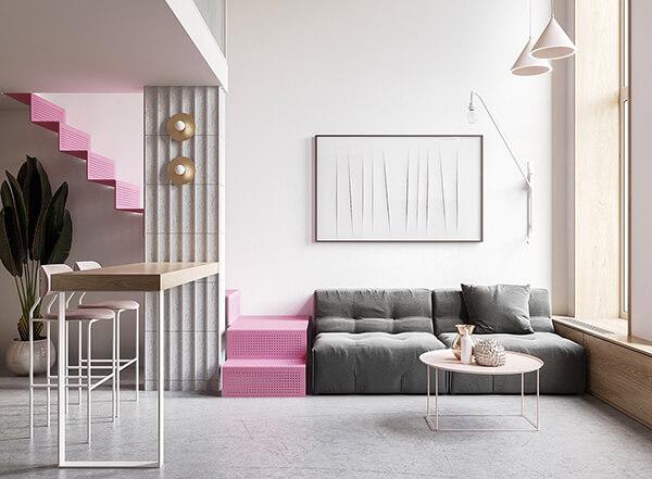 cầu thang màu hồng