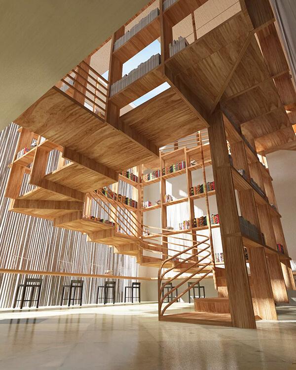 cầu thang khổng lồ trong thư viện