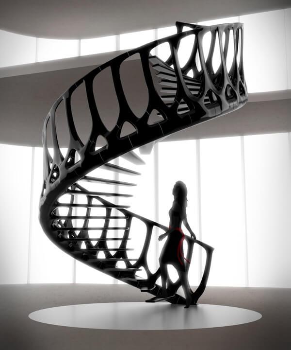 cầu thang màu đen hiện đại