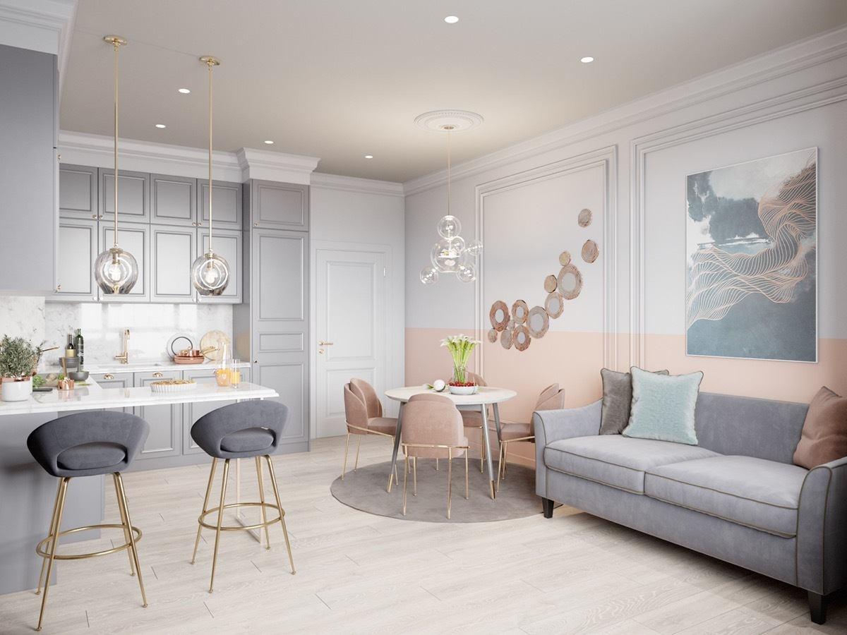Thiết kế phòng khách liên thông với phòng ăn và bếp