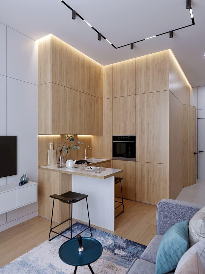 50 Mẫu nhà bếp nhỏ đẹp dành cho nhà ống, căn hộ chung cư 21