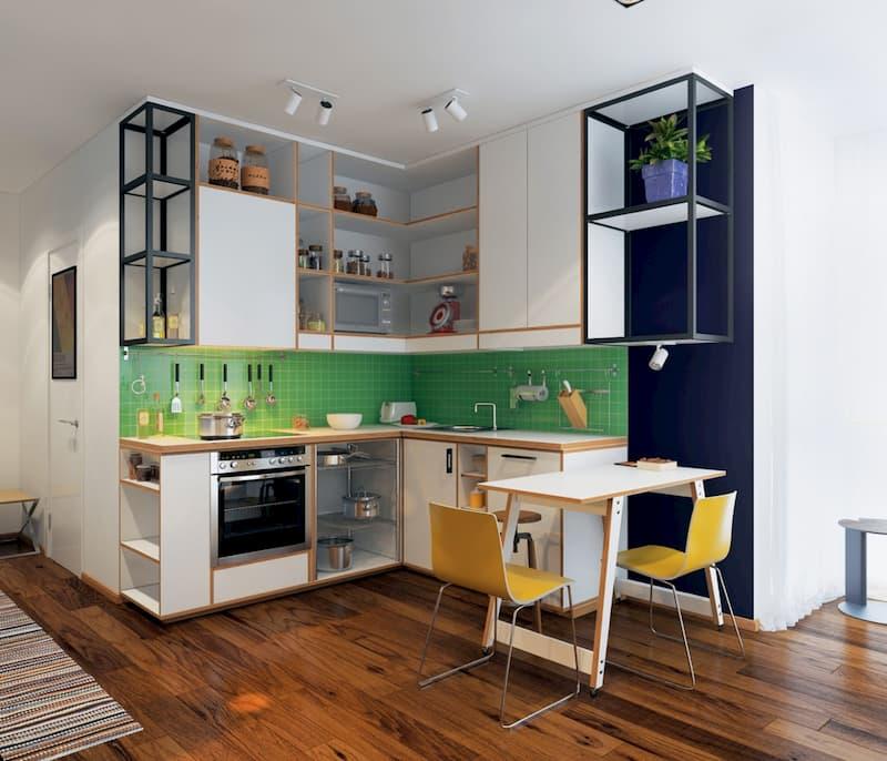50 Mẫu nhà bếp nhỏ đẹp dành cho nhà ống, căn hộ chung cư 38