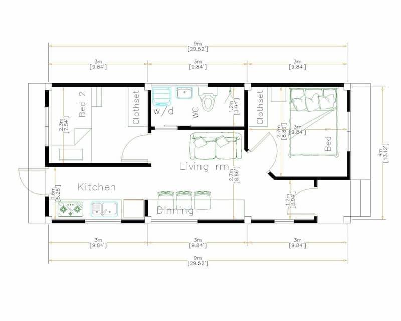 bản vẽ mặt bằng nhà cấp 4 4x9m 2 phòng ngủ