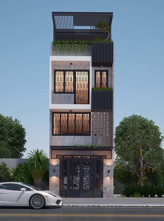 34 Mẫu thiết kế nhà phố 4 tầng đẹp hiện đại và đơn giản 23